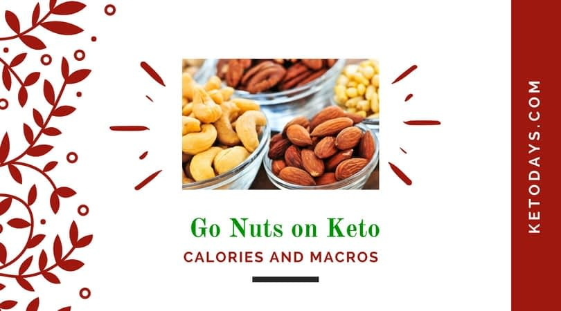 Picture of mixed nuts with the words go nuts on keto and calories and macros with Ketodays.com