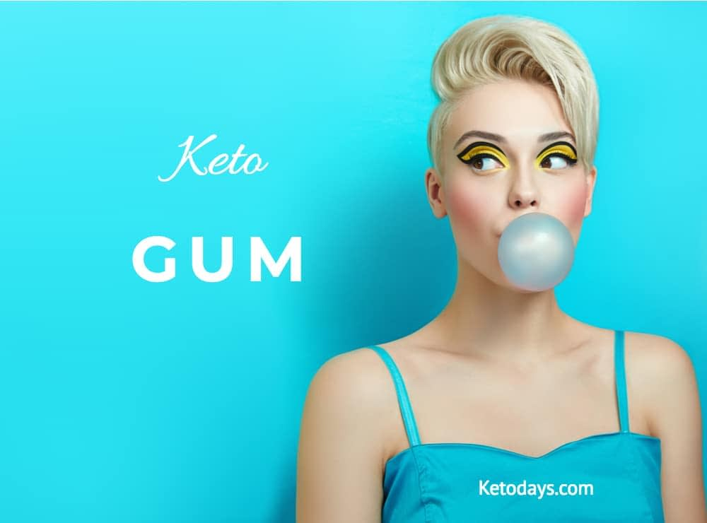 girl is wearing a blue dress that says ketodays.com and is blowing a gum bubble that is also blue. Letters next to her spell out the words keto gum