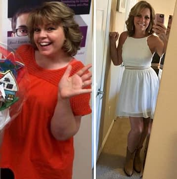 Before and After Keto weight loss Lori Ballen 200 pounds and 150 pounds