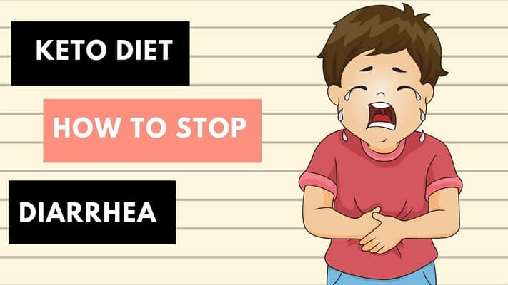 cartoon kid looks like he is crying standing next to sign How to Stop Diahrrea on Keto