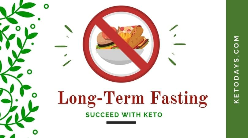 The Benefits of long term fasting is listed on a white background with a picture of food in a circle with an x through it