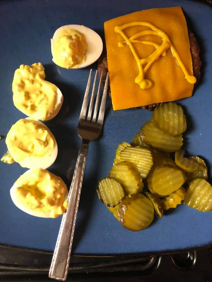 On Keto, when I'm at the beginning or restarting, I eat very simple. For example, a burger with cheese (no bun), deviled eggs, and Pickles