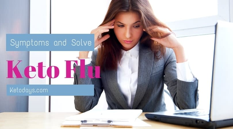 woman is at work in a business suit holding her head like she has a headache. Banner reads symptons and solutions for the keto flu