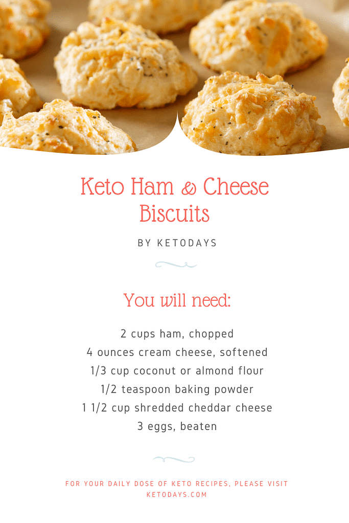 Enjoy this keto ham and cheese biscuit recipe courtesy of Lori Ballen's Ketodays.com. 2 Biscuits = 4 Net Carbs and 312 Calories based on 12 biscuits total.