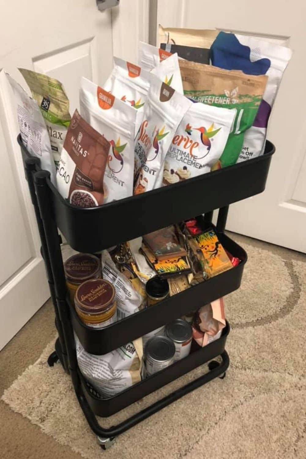 This Keto Cart is perfet for all of my Keto Recipe ingredients. Everytime I'm ready to bake, I just pull out the cart and have everything I need. I stock it seasonally and as needed.