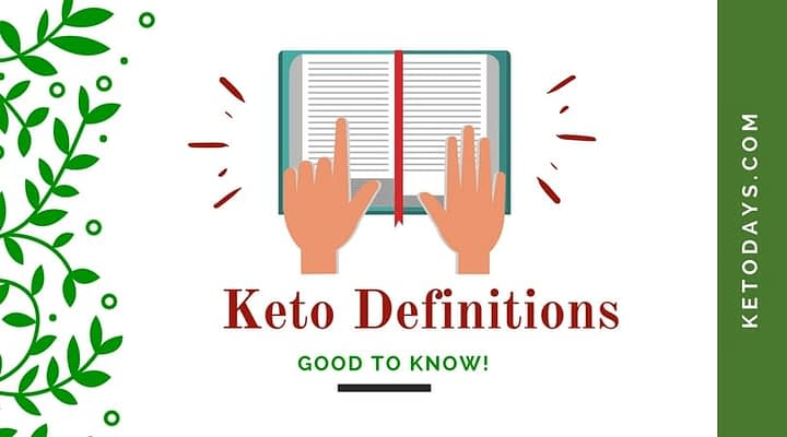 Dictionary is open with someone pointing to a word on the page. It's a cartoon style drawing. Letters spell out the words Keto Definitions and good to know. Side shows the website Ketodays.com