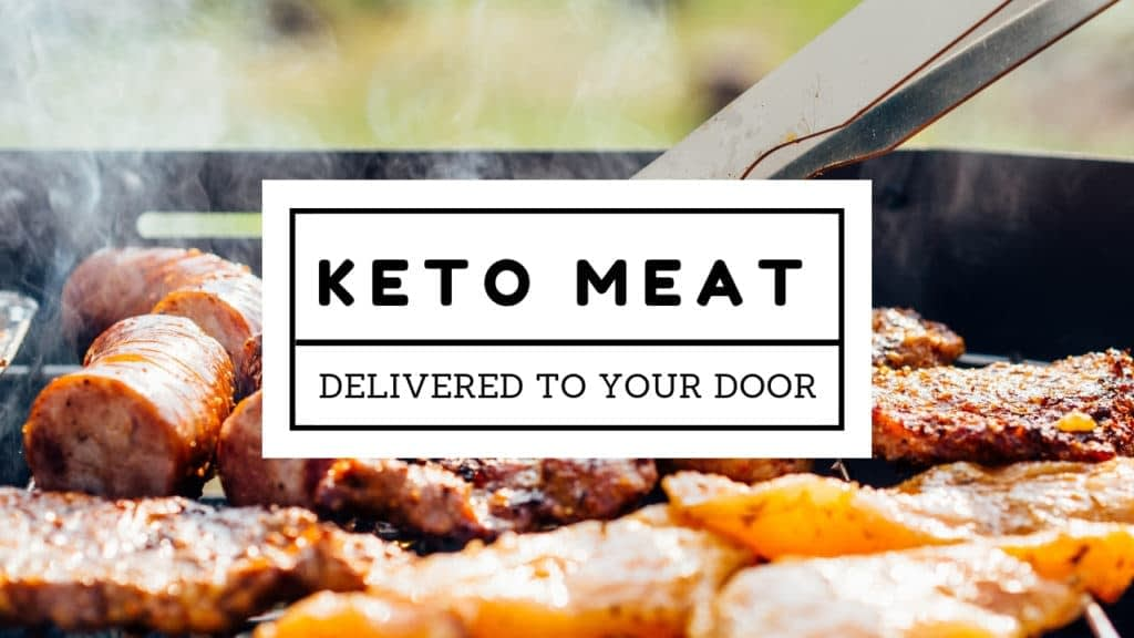 Picture of meat on a grill with the words Keto Meat Delivered to your door
