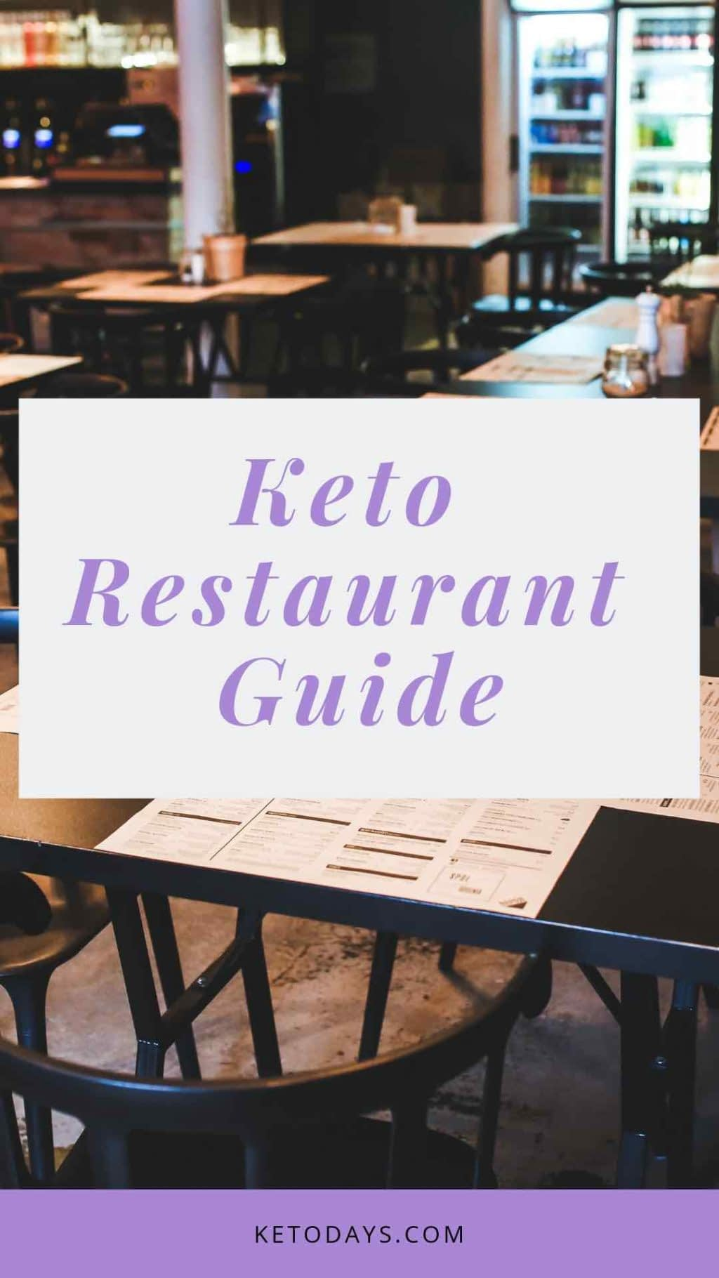 Keto Restaurant Guide is written on the front of a picture of a restaurant and the size of the image is a pin for pinterest
