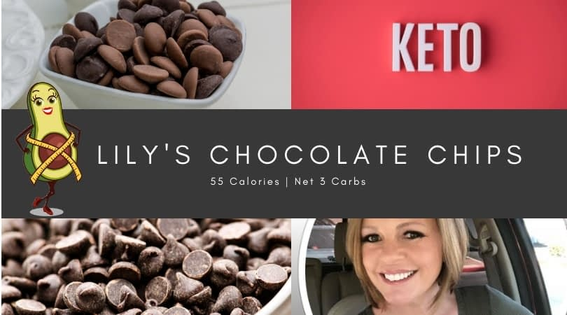 Keto Block is next to chocolate chips and above Lori Ballen Keto coach face with words lily's chocolate chips 55 calories net 3 carbs
