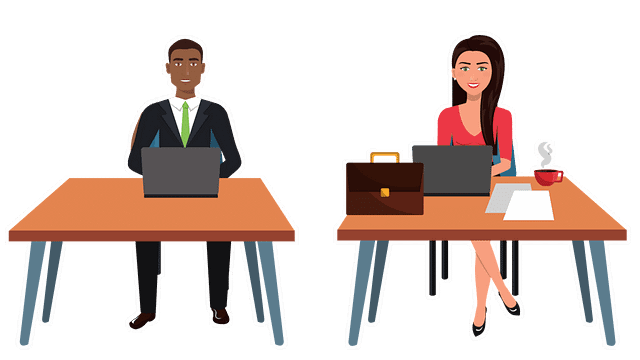 cartoon man and woman sitting at desks on their computer. Woman has a briefcase, papers, and coffee on her desk.