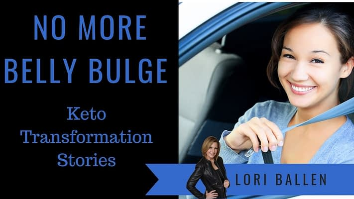 A woman is in her car and is happy. She's smiling because she can put on her seat belt with no more belly bulge. Keto Transformation stories is written on the image