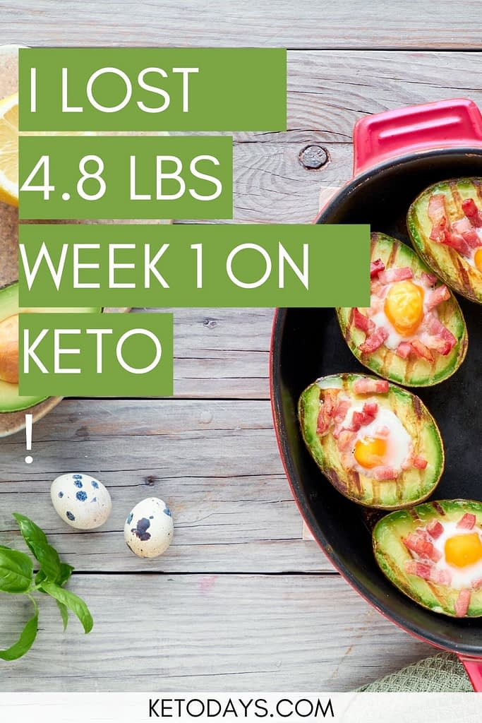 """Down 4.8 Pounds, 1 """"  in waist, 1"""" in hips. I know this is water weight AND is still very satisfying. In spite of the macaroni and cheese cheat meal, I reached ketosis by the very end of the week1"""