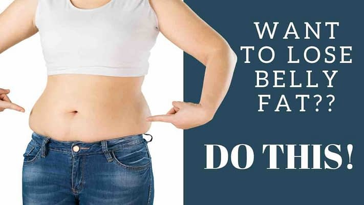 A person with a muffin top over their jeans is pointing to their belly fat and words next it it read want to lose belly fat/ do this