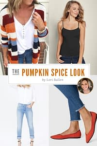 Pumpkin Spice Outfit Of The day by Lori Ballen with 4 images of the multicolored long cardigan, black cami, boyfriend jeans, and persimmon rothys flats