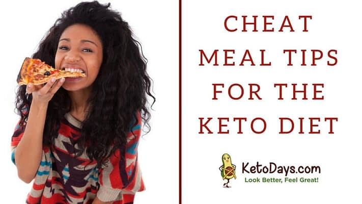 A pretty young woman on the keto diet is eating pizza, her cheat meal. The words next to hear read cheat meal tips for the keto diet