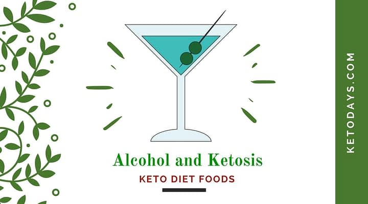 Martini Glass with olives with letters under it that spell out the words Alcohol and Ketosis