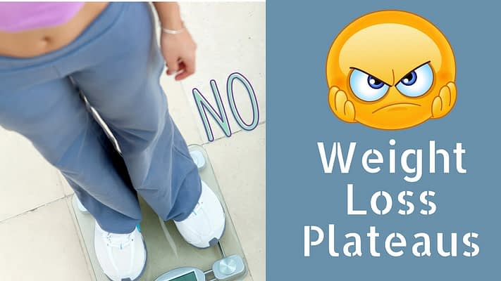 Picture of a person standing on a scale with the word no indicating no weight loss. Emoji of a frustrated face and the words Weight Loss Plateaus